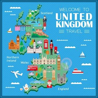 Mapa de viagem adorável do reino unido com atrações