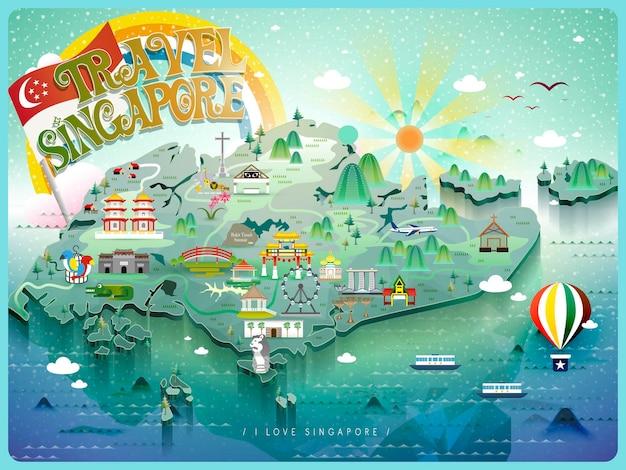 Mapa de viagem atraente de cingapura com atrações coloridas