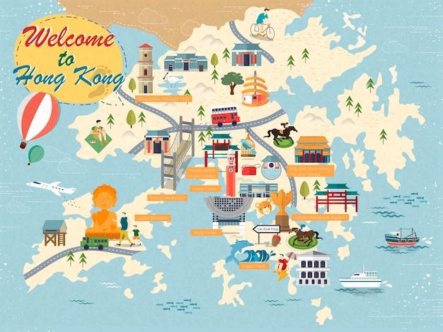 Mapa de viagem atraente de hong kong com ícones de atrações em design plano