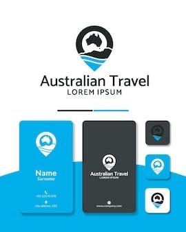 Mapa de viagem com pino de design de logotipo da austrália
