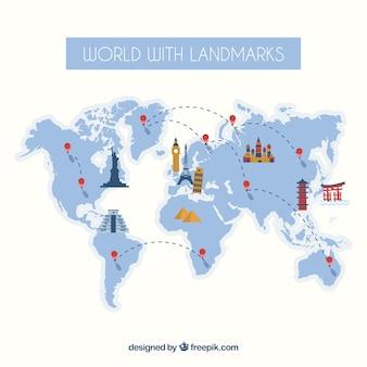 Mapa de viagem com pontos de referência
