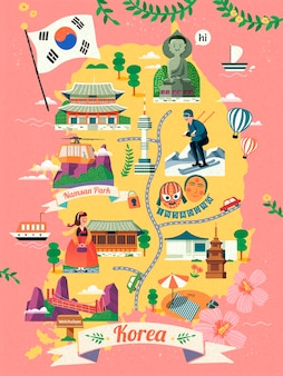Mapa de viagem da coreia, adorável marco famoso da coreia e símbolo da cultura no mapa em, fundo rosa