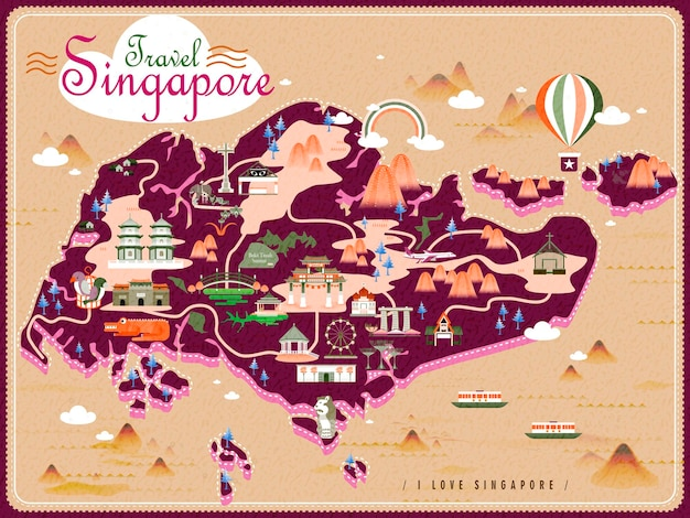 Mapa de viagem de cingapura com atrações adoráveis em design plano