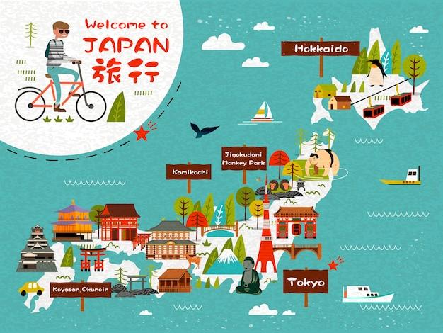 Mapa de viagem do japão com um homem andando de bicicleta