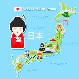 Mapa de viagem do japão