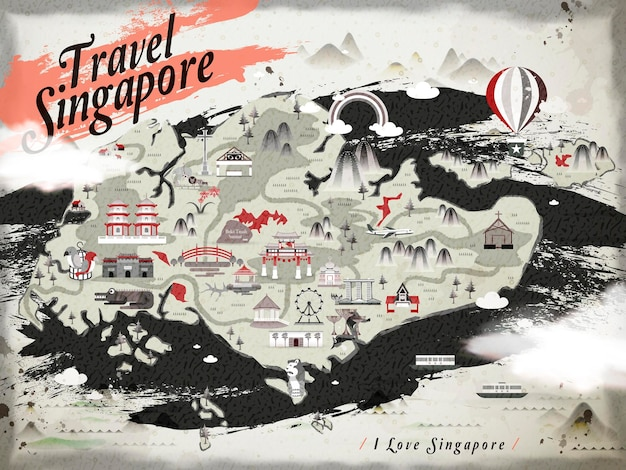 Mapa de viagem retrô de cingapura em estilo de tinta chinesa