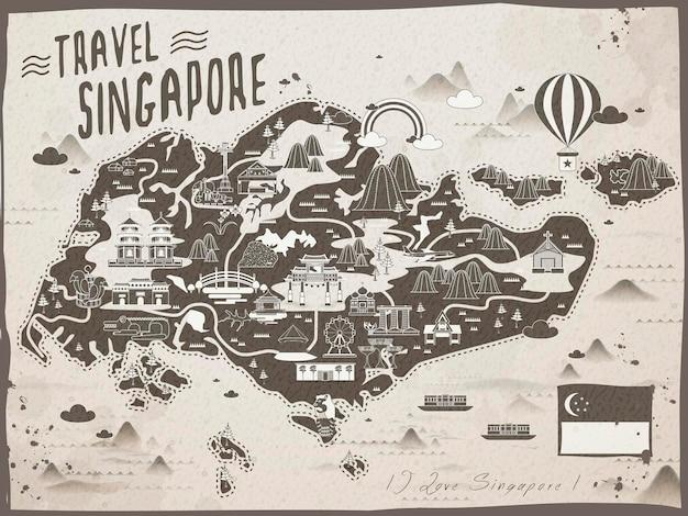 Mapa de viagem retrô de cingapura em marrom e bege