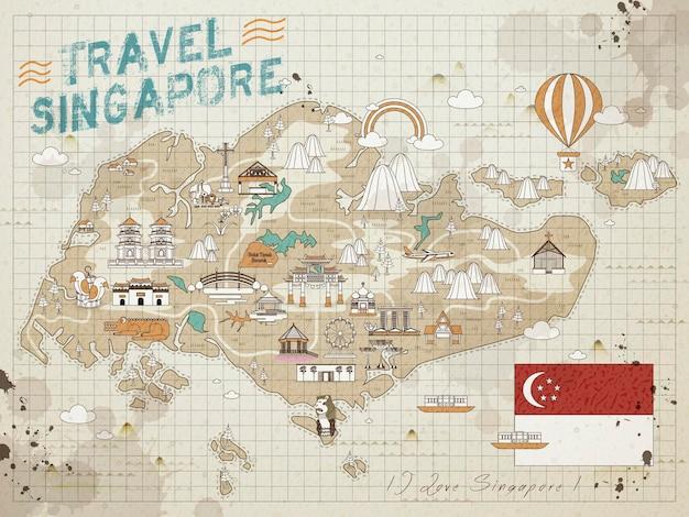 Mapa de viagem retrô de cingapura no papel de nota
