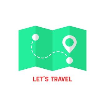 Mapa de viagem verde com pino. conceito de localizar, marco, folheto, agulha, pesquisa, lua de mel, viagem, orientação. isolado no fundo branco. ilustração em vetor design de logotipo moderno tendência estilo simples