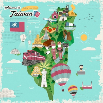 Mapa de viagens coloridas de atrações e pratos de taiwan