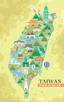 Mapa de viagens com lindas atrações em taiwan