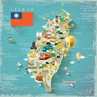 Mapa de viagens de atrações famosas de taiwan