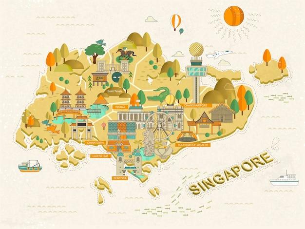 Mapa de viagens de atrações imperdíveis em cingapura