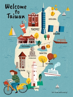 Mapa de viagens de taiwan, atrações e especialidades desenhadas à mão com uma garota andando de bicicleta