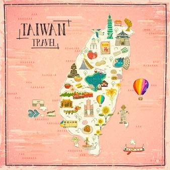 Mapa de viagens de taiwan desenhado à mão