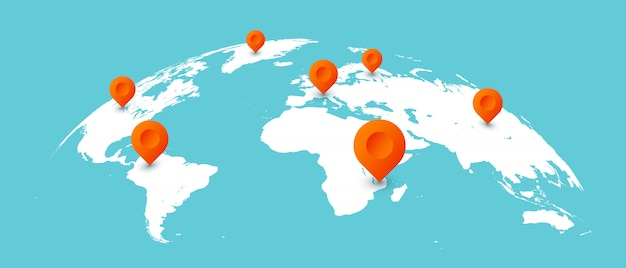 Mapa de viagens do mundo. pinos nos mapas globais da terra, ilustração isolada de comunicação de negócios em todo o mundo