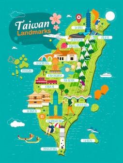 Mapa de viagens dos pontos de referência de taiwan