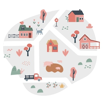 Mapa de vila bonito com casas e animais. mão-extraídas ilustração vetorial de uma fazenda. criador do mapa da cidade.