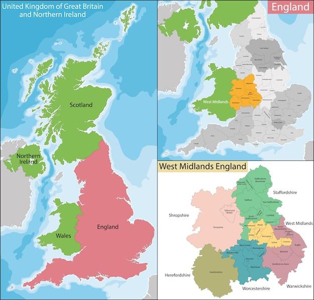 Mapa de west midlands england