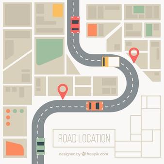 Mapa desdobrado e localizadores no design plano