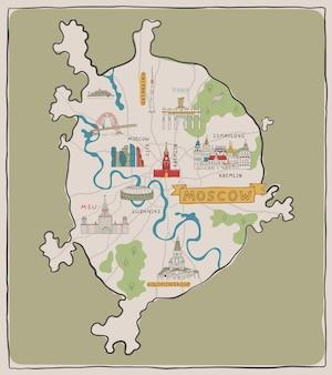 Mapa desenhado à mão de moscou com edifícios e lugares famosos. ilustração em vetor de cor