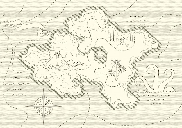 Mapa desenhado de mão antiga com vintage