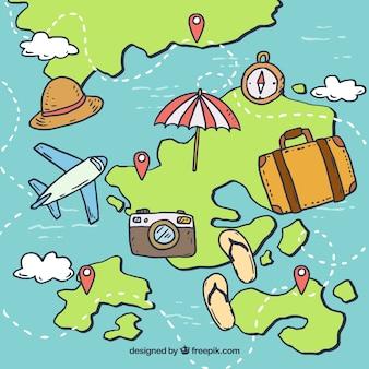 Mapa desenhado de mão com elementos de viagem