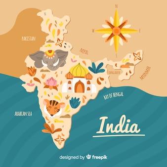 Mapa desenhado de mão da índia