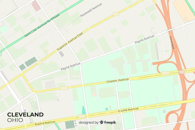 Mapa detalhado da cidade colorido com vista de ruas