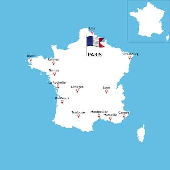 Mapa detalhado da frança