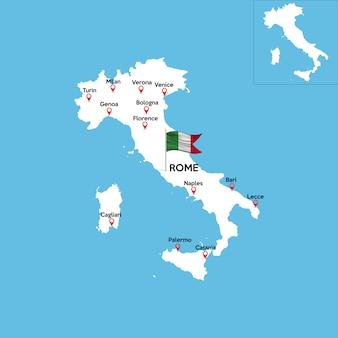 Mapa detalhado da itália