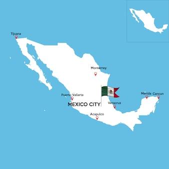 Mapa detalhado do méxico