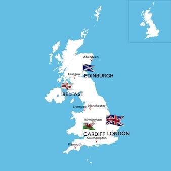 Mapa detalhado do reino unido
