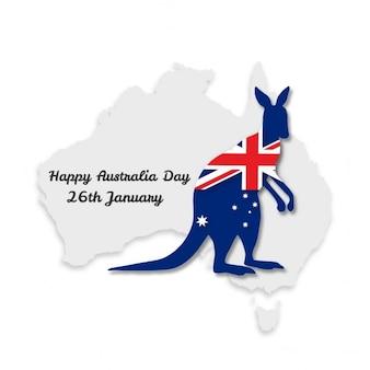 Mapa dia de austrália com a bandeira enrolada kangroo