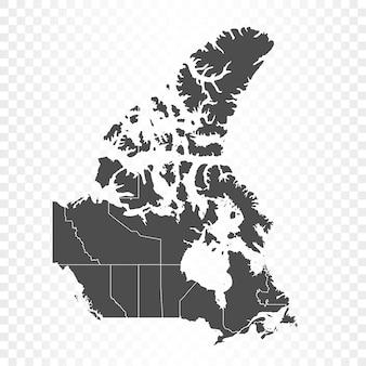 Mapa do canadá isolado em transparente