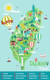 Mapa do conceito de viagens de taiwan, pontos de referência famosos nesta linda ilha