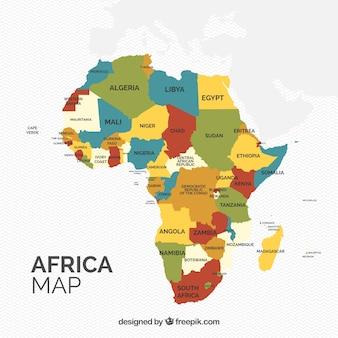 Mapa do continente de áfrica com cores diferentes