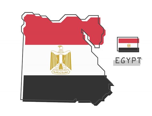 Mapa do egito e bandeira