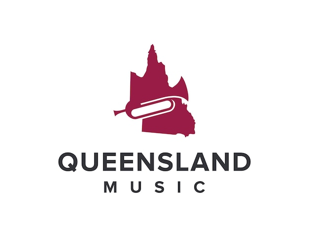Mapa do estado de queensland e música de chifre simples, elegante, criativo, geométrico, moderno, logotipo
