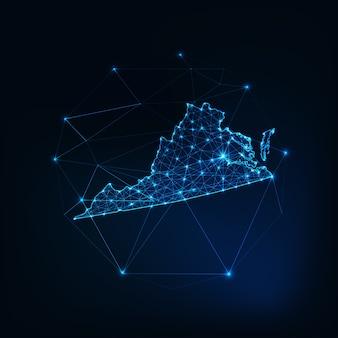 Mapa do estado de richmond, eua, contorno de silhueta brilhante feito de estrelas, linhas, pontos, triângulos