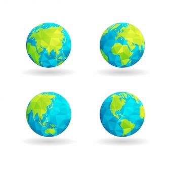 Mapa do globo de baixa poli