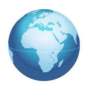 Mapa do globo mundial do vetor áfrica mar mediterrâneo península arábica mapa centrado no ícone da esfera do planeta azul isolado em um fundo branco
