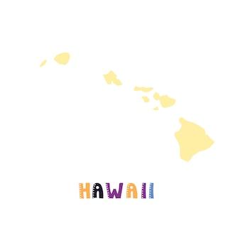 Mapa do havaí isolado. coleção dos eua. mapa do havaí - silhueta amarela. letras de estilo rabisco em branco