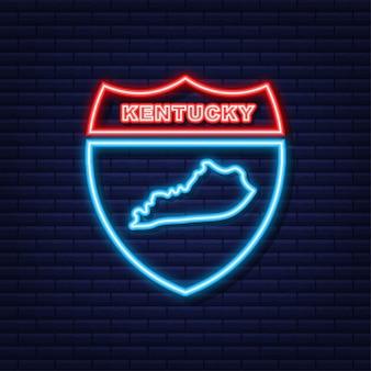 Mapa do ícone de néon do estado de kentucky, do estado unido da américa. ilustração vetorial.