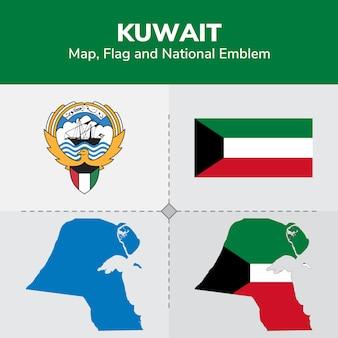 Mapa do kuwait, bandeira e emblema nacional
