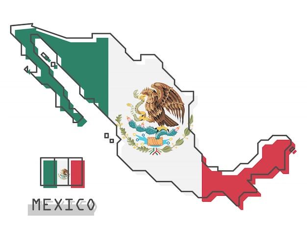 Mapa do méxico e bandeira