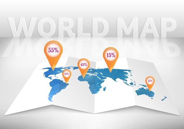 Mapa do mundo 3d com marcas.