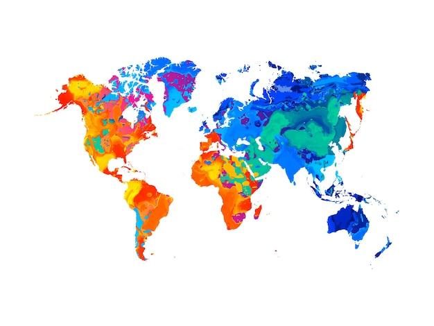 Mapa do mundo abstrato do respingo de aquarelas. ilustração de tintas