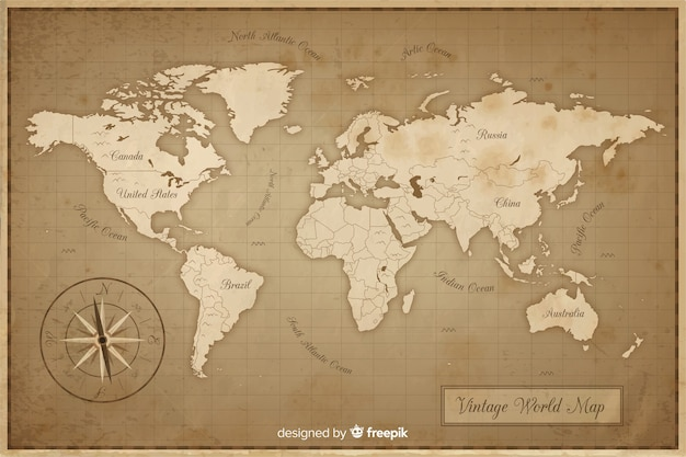Mapa do mundo antigo e vintage Vetor Premium
