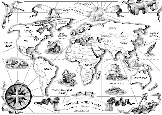 Mapa do mundo antigo vintage desenho a mão com gravura clip-art em preto e branco